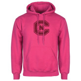 Fuchsia Fleece Hoodie-Official Logo Hot Pink Glitter