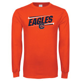 Orange Long Sleeve T Shirt-Eagles Slanted w/ Logo