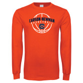 Orange Long Sleeve T Shirt-Carson-Newman Basketball Arched w/ Ball