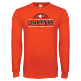 Orange Long Sleeve T Shirt-2017 Womens Soccer Champions w/ Ball