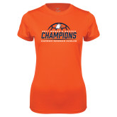 Ladies Performance Orange Tee-2017 Womens Soccer Champions w/ Ball