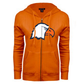 ENZA Ladies Orange Fleece Full Zip Hoodie-Eagle Head