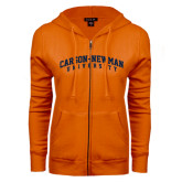 ENZA Ladies Orange Fleece Full Zip Hoodie-Arched Carson-Newman University