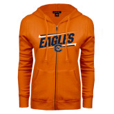 ENZA Ladies Orange Fleece Full Zip Hoodie-Eagles Slanted w/ Logo