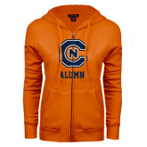 ENZA Ladies Orange Fleece Full Zip Hoodie-Alumni