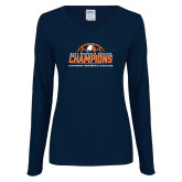 Ladies Navy Long Sleeve V Neck Tee-2017 Womens Soccer Champions w/ Ball