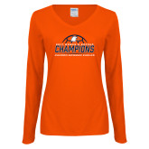 Ladies Orange Long Sleeve V Neck Tee-2017 Womens Soccer Champions w/ Ball