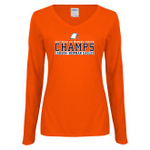 Ladies Orange Long Sleeve V Neck Tee-2017 NCAA DII Womens Soccer - CHAMPS