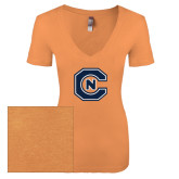 Next Level Ladies Vintage Light Orange Tri Blend V-Neck Tee-Official Logo