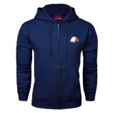 Navy Fleece Full Zip Hoodie-Eagle Head