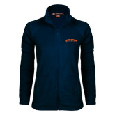 Ladies Fleece Full Zip Navy Jacket-Arched Carson-Newman University