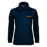 Ladies Fleece Full Zip Navy Jacket-Arched Carson-Newman University