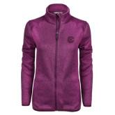 Dark Pink Heather Ladies Fleece Jacket-Official Logo
