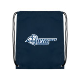 Navy Drawstring Backpack-Primary Mark Flat