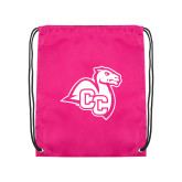 Pink Drawstring Backpack-Camel with CC