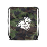 Camo Drawstring Backpack-Camel with CC