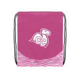 Nylon Zebra Pink/White Patterned Drawstring Backpack-Camel with CC