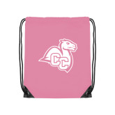Light Pink Drawstring Backpack-Camel with CC