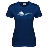 Ladies Navy T Shirt-Primary Mark Flat