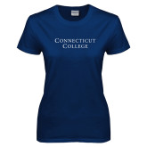 Ladies Navy T Shirt-Connecticut College