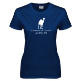 Ladies Navy T Shirt-Vintage Camel Alumni
