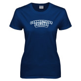 Ladies Navy T Shirt-Hockey