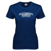 Ladies Navy T Shirt-Swimming
