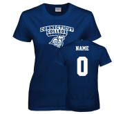 Ladies Navy T Shirt-Primary Mark, Custom Tee w/ Name and #