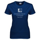 Ladies Navy T Shirt-Class of Personalized Year, Custom year in White