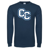 Navy Long Sleeve T Shirt-Interlocking CC