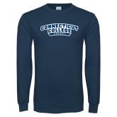 Navy Long Sleeve T Shirt-Hockey
