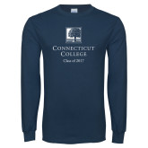 Navy Long Sleeve T Shirt-Class of Personalized Year, Custom year in White