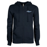 ENZA Ladies Navy Fleece Full Zip Hoodie-Primary Mark Flat
