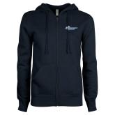 ENZA Ladies Navy Fleece Full Zip Hoodie-Primary Mark Flat