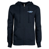 ENZA Ladies Navy Fleece Full Zip Hoodie-Arched Connecticut College Camels