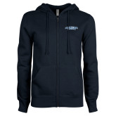 ENZA Ladies Navy Fleece Full Zip Hoodie-Arched Connecticut College