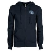 ENZA Ladies Navy Fleece Full Zip Hoodie-Interlocking CC