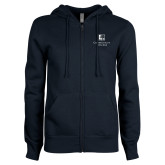 ENZA Ladies Navy Fleece Full Zip Hoodie-Institutional Mark