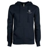 ENZA Ladies Navy Fleece Full Zip Hoodie-Institutional Mark