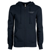 ENZA Ladies Navy Fleece Full Zip Hoodie-Connecticut College