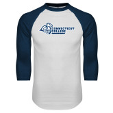 White/Navy Raglan Baseball T Shirt-Primary Mark Flat
