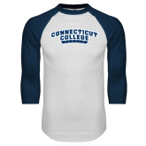 White/Navy Raglan Baseball T Shirt-Arched Connecticut College Camels