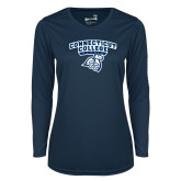 Ladies Syntrel Performance Navy Longsleeve Shirt-Primary Mark