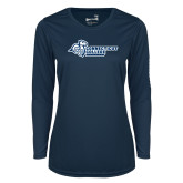 Ladies Syntrel Performance Navy Longsleeve Shirt-Primary Mark Flat