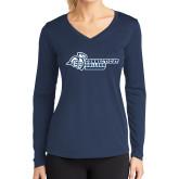 Ladies Syntrel Performance Navy Longsleeve Shirt-Primary Mark Flat