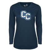 Ladies Syntrel Performance Navy Longsleeve Shirt-Interlocking CC
