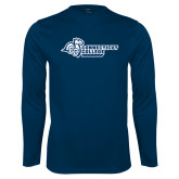 Performance Navy Longsleeve Shirt-Primary Mark Flat