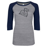 ENZA Ladies Athletic Heather/Navy Vintage Baseball Tee-Camel with CC