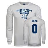 White Long Sleeve T Shirt-Primary Mark, Custom Tee w/ Name and #