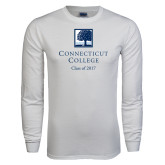 White Long Sleeve T Shirt-Class of Personalized Year, Custom year in 295 Navy